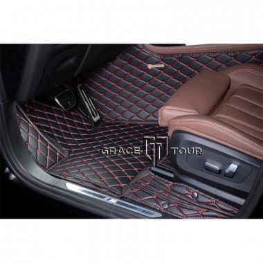 Кожаные 3D коврики для Audi 100 45 седан 1990-1994, чёрные с красной строчкой