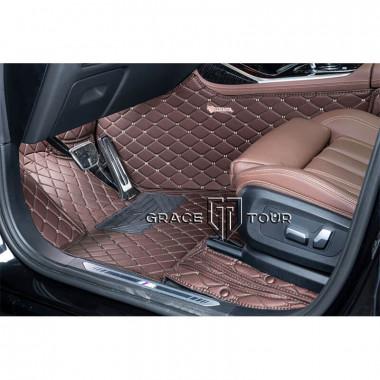 Кожаные 3D коврики для Audi A3 II 8P 2003-2013, темно-коричневые с бежевой строчкой