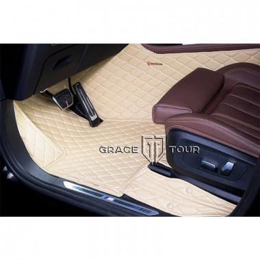 Кожаные 3D коврики для Audi A3 8V хэтчбек-седан 2012-нв, бежевые с бежевой строчкой