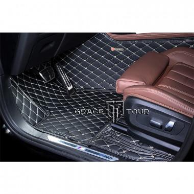 Кожаные 3D коврики для Audi A3 II 8P 2003-2013, чёрные с бежевой строчкой
