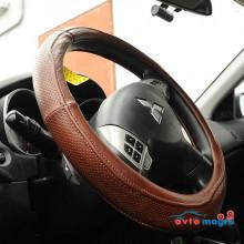 Оплетка на руль коричневая