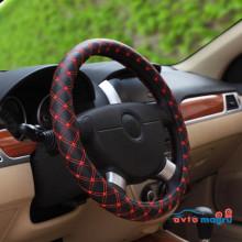 Оплетка на руль черная с красной строчкой в виде ромба