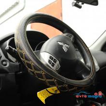 Оплетка на руль - черная с желтым ромбом