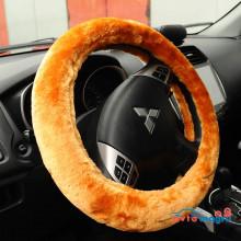 Оранжевая меховая оплетка на руль