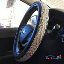 Оплетка на руль с разноцветными стразами