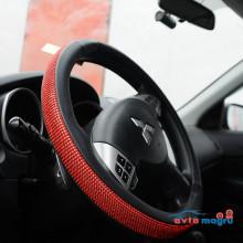 Оплетка на руль с красными круглыми стразами